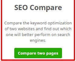 Seo compare feature on Seobility