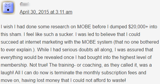 a member of Mobe complaining