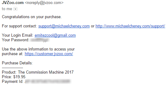 The Commission Machine 2017 purchase receipt