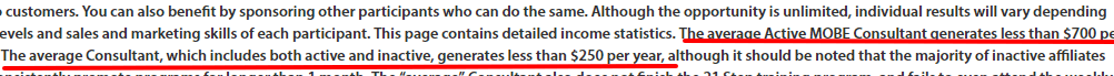 MOBE income disclaimer page