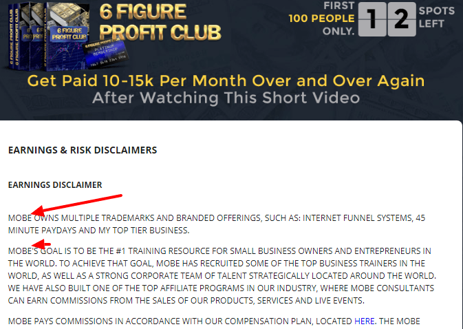 6 figure profit code mobe earning disclaimer