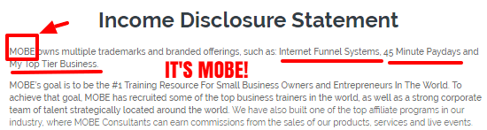 Income Disclosure of Mobile Success Training showing that it's mobe