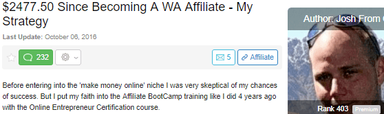 wealthy affiliate scam- WA testimonial