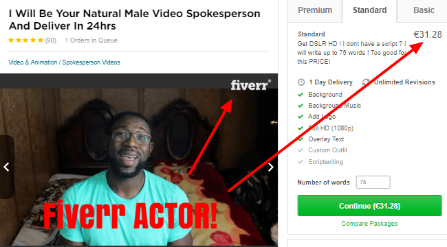 tube crusher fake actor from Fiverr