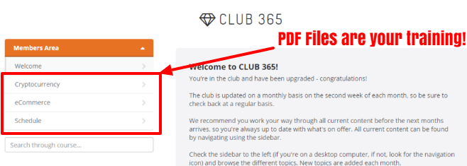 club 365 gives you PDF Files as training