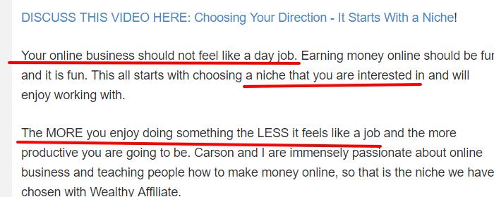 wealthy affiliate niche lesson