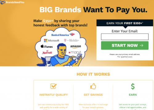 big brands want to pay you - BrandsNeedYou scam website