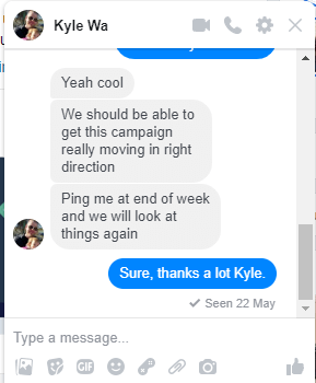 Kyle from Wealthy Affiliate in messenger