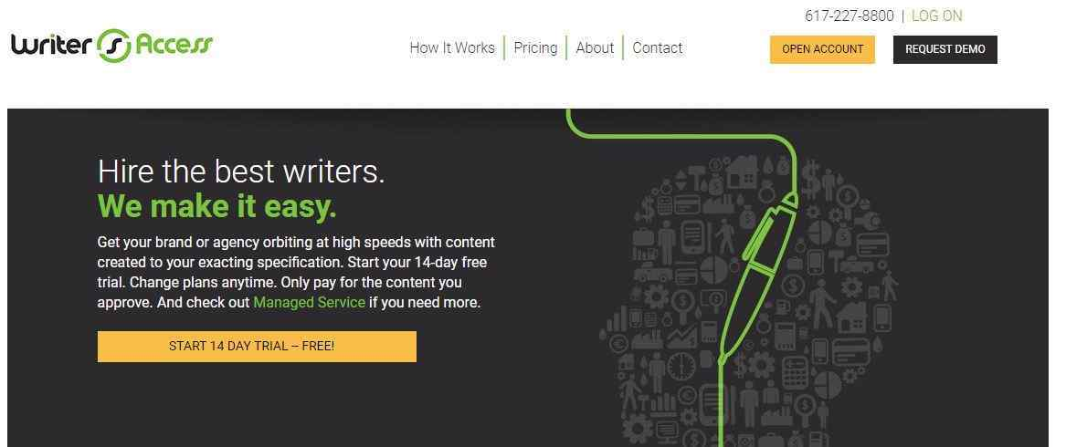 Writer Access main page