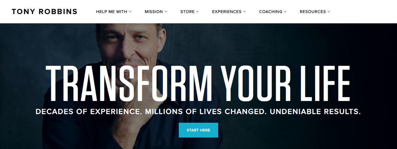 Tony Robbins main page