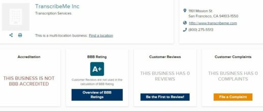 TranscribeMe Review BBB rating